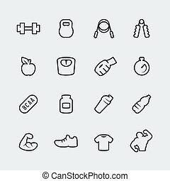 Vector fitness bodybuilding mini icons set