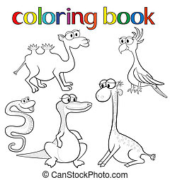 Set of animals for coloring book with giraffe, parrot,...