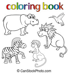 Kit of animals for coloring book with hippo, lion, zebra,...