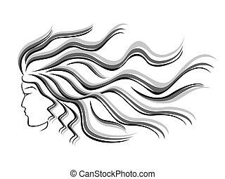 femininas, silueta, cabeça, fluir, cabelo