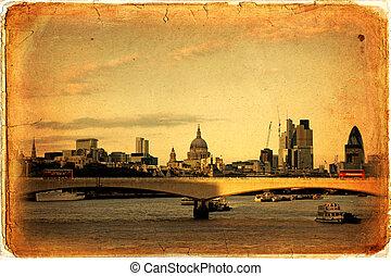 London - Panorama of London, Waterloo Bridge and skyscrapers...