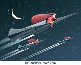 Santa Claus on rockets at night. - Vector illustration for...