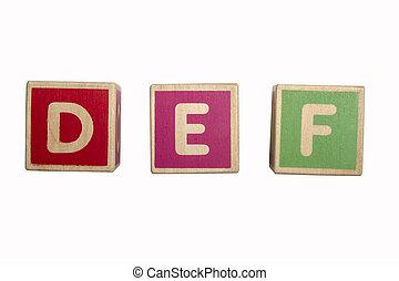 Alphabet blocks DEF isolated on white background