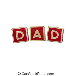 Alphabet blocks DAD isolated on white background