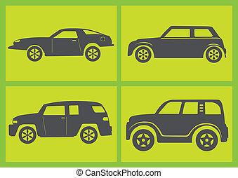 Four Cars Vector Illustration