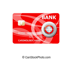 Money credit card and lock. Concept of a safe payment