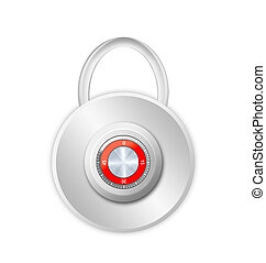 security concept with locked red combination pad lock