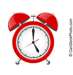 Red Alarm Clock Illustration Isolated on White Background