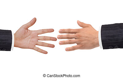 Two hands isolated on white background