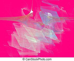 fractal illustration of crystals on red
