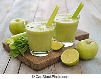 Green smoothie - Smoothie of green apple, celery and lime on...