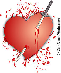 Heart and sword - Creative design of heart and sword