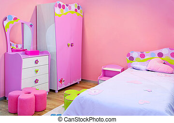 Pink room - Interior of girls room all in pink