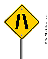 Road narrows traffic sign on white background with clipping...