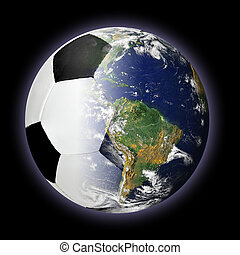 Soccer Ball and Planet Earth Merged Together - Concept of...