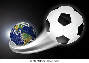 Soccer Ball Flying Out From Planet Earth - Concept of soccer...