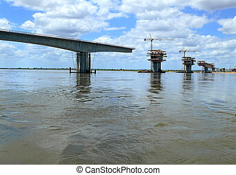 Construction of a bridge over the Zambezi river....