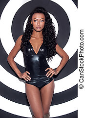 Glamour fashion model Beautiful young Afro-American woman...