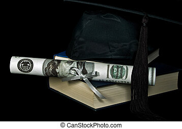 Graduation Earnings - Money diploma with graduation cap on...