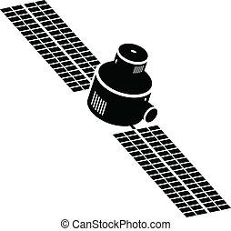 Satellite Icon - A cartoon icon silhouette of a satellite.