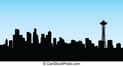 Seattle Skyline - Skyline silhouette of the city of Seattle,...