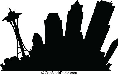 Cartoon Seattle - Cartoon skyline silhouette of the city of...