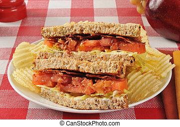 BLT sandwich on whole grain bread