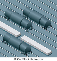 Tank Cars in Railyard - Cartoon tank cars at rest in a...