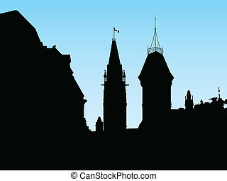 Ottawa Skyline - Silhouette of the government building on...