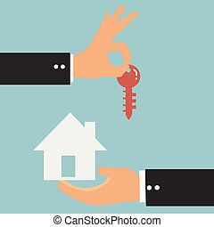 Businessman is trading a house key to each other.
