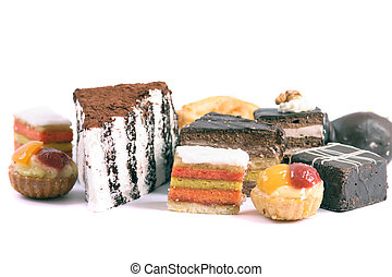 sweet deserts - nice sweet desserts on the white background