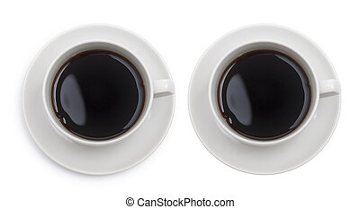 Coffee cup top view isolated with clipping path included. One with shadow another is with no shadow.