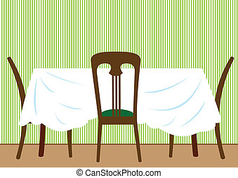 Table and chairs - Illustration of a table with a white...