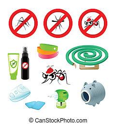 Anti-mosquito care - Anti-mosquito symbols, repellents and...