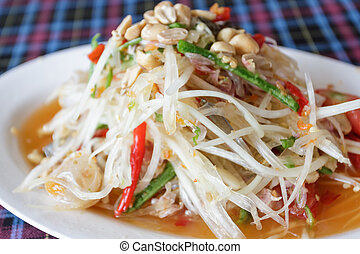 Thai papaya spicy salad, Som Tum,Thailand - Thai papaya...