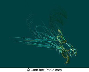 fractal illustration of absrtact feather on green background