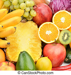 set fruits and vegetables - Background of set fruits and...