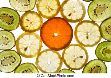fruit slices - fresh fruit slices on the white background