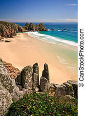 Porthcurno beach in Cornwall - Porthcurno beach in Cornwall,...