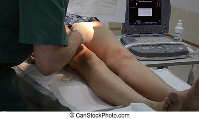 Surgeon operating patient leg. zoom