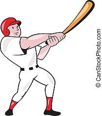 Baseball Player Swinging Bat Cartoon - Illustration of an...