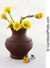 coltsfoot - Flowers coltsfoot in ware pottery handmade