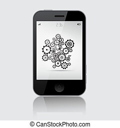 Smartphone Vector Illustration with Cogs - Wheels on Grey Background