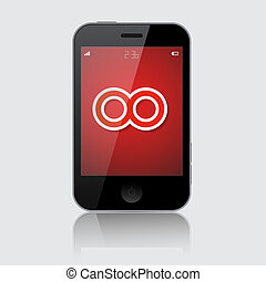 Smartphone Vector Illustration with Infinity Symbol Isolated on Grey Background