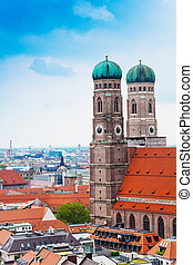 City view of Munich, Frauenkirche, Germany - City view with...