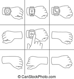 Hands with smartwatch icons - Collection of hands for...