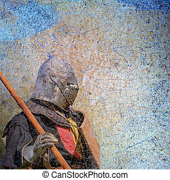 Armored knight - retro postcard on vintage paper background