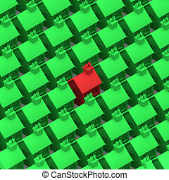 3d House stands out - 3d render of a red house among many...