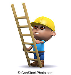 3d Builder with ladder - 3d render of a builder with a...