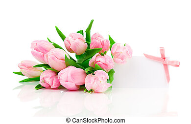 beautiful tulips with with blank for text on a white...